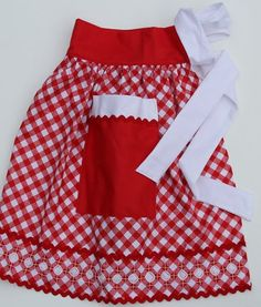 Gingham Apron -  chicken scratch border