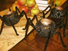 Creepy Crawly Spider Votives   for safety reasons I suggest Battery operated flameless candles or glow sticks