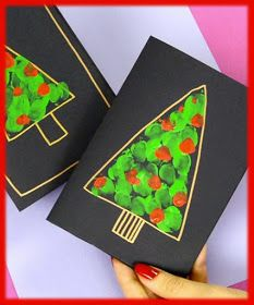 ▷ ideas for mason jars decorate to imitate DIY fingerprint Christmas tree card craft idea for kids to make - Christmas Deko - Source link Homemade Christmas Cards, Christmas Crafts For Kids, Xmas Crafts, Handmade Christmas, Christmas Decorations, Christmas Card Ideas With Kids, 2nd Grade Christmas Crafts, Fun Crafts, Simple Christmas Cards