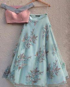 lehnga dress Sage Green Embroidered Lehenga with Off Shoulder Peach Pearl Blouse Indian Gowns Dresses, Indian Fashion Dresses, Indian Designer Outfits, Fashion Outfits, Pakistani Dresses, Pakistani Clothing, Fashion Ideas, Lehnga Dress, Bridal Lehenga Choli
