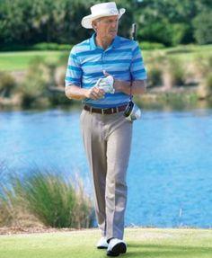 Greg Norman for Tasso Elba Men's 5 Iron Flat Front Golf Pants - Tan/Beige 40x32