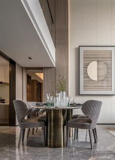 Modern Master Bedroom, Modern Bedroom Design, Contemporary Interior Design, Luxury Dining Room, Dining Room Design, High Ceiling Living Room, Dining Room Inspiration, Dining Table Chairs, Dining Area