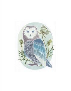 Little Minty Barn Owl Print