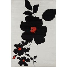 Filament Allie Handmade Rug with Black-and-Red Print
