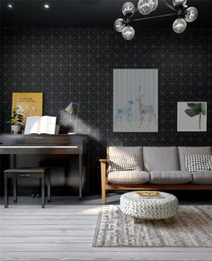 Modern living room renovation, this 4″ tile in matte finish and pure black color, is a great choice to make statement to any wall background design.