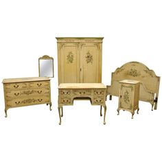 Victorian Painted Bedroom Suite | From a unique collection of antique and modern linen presses at https://www.1stdibs.com/furniture/storage-case-pieces/linen-presses/