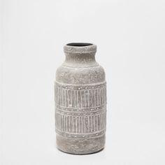 GRAY RAISED-DESIGN VASE - Vases - Decor - Home Collection - SALE | Zara Home United States