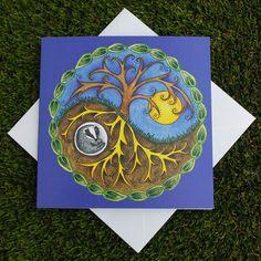 Yin & Yang Tree and Badger Square Greetings Card by RieDesigned Yin En Yang, Yin Yang Designs, Pencil Painting, Slug, Necklace Ideas, Badger, Artisan, Greeting Cards, Trees