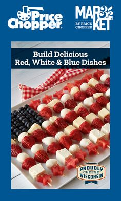 Price Chopper, Wisconsin Cheese, Blue Dishes, Watermelon Slices, Skewers, Fresh Fruit, Memorial Day, Blueberry, Buffet
