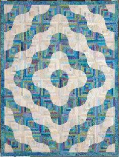 """Rolling Hills Log Cabin quilt - Patchwork Among Friends, 2011. Designed by Judy Martin. Pieced by Doris Hareland. Quilted by Jenise Antony. 73"""" x 96"""". Alternate size of 96"""" x 96"""" also presented."""