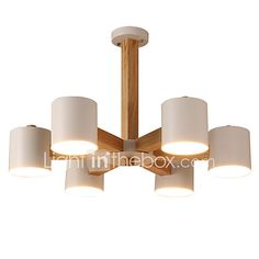 LightMyself 6 Lights Chandelier Modern/Contemporary Traditional/Classic Vintage Country Wood Feature for LED Wood Living Room Bedroom Dining Room 2017 - £126.65