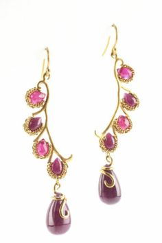 New Anthony Nak 18K Yellow Gold Pear Shaped Ruby Chain Accent Drop Earrings | eBay