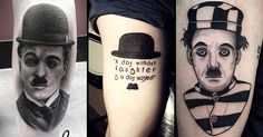 The founding father of motion picture, Charlie Chaplin in tattoos.