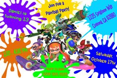 Splatoon Birthday Invitation. Click on the image twice to place orders or follow me on facebook. or email me at the address in BIO.