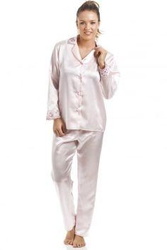 Camille Womens Nightwear Luxury Cream Satin Cami Pyjama Set