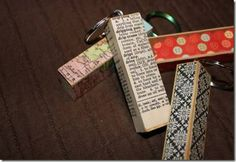 Even more Jenga keychains. I like the idea of using maps, book pages, or music sheets.