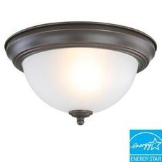 Commercial Electric 1-Light Oil Rubbed Bronze Flushmount-EFG1011P-3-ORB at The Home Depot  I need four of these.