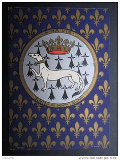 Crowned ermine with ermine tails and Fleur-de-lis as a background with the motto A ma vie. emblems of Anne of Brittany. https://hemmahoshilde.wordpress.com/2015/06/04/anne-of-brittany-emblems/ <--- You are welcome to read more about Anne of Brittany's emblems on my art blog :)