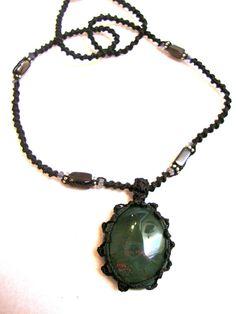 BLOODSTONE macrame necklace $38