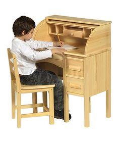 Light Oak Jr. Roll-Top Desk #zulily #zulilyfinds