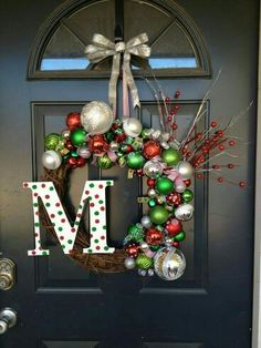 Gorgeous Christmas wreath for Christmas, #red #green #silver #initial.