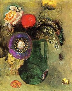 Odilon Redon, 1905,  Flowers in Green Vase with Handles #flower #painting