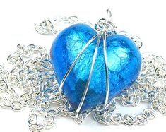 Aqua Blue Heart Necklace in Venetian Murano Glass with Silver Chain and Wire Wrapped Pendant April Rain, Women's Trends, Silver Apples, Artistic Wire, Murano Glass Beads, Wire Wrapped Pendant, All About Fashion, Apple Watch Bands, Venetian