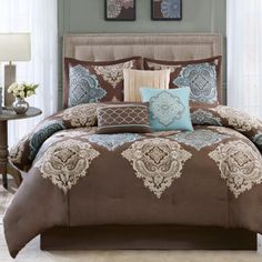 """$170<p>Celebrate your tranquil space with this set featuring a beautiful damask design printed across the center of the comforter and shams.</p><div style=""""page-break-after: always"""
