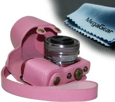 "MegaGear ""Ever Ready"" Protective Leather Camera Case, Bag for Sony Alpha a5000, Sony a5100 with 16-50mm OSS Lens (Light Pink)"