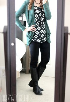 Concord Striped Draped Pocket Cardigan from 41Hawthorn with Chandler black and white print Ikat blouse from Olive & Oak. I LOVE this cardi! Color, fit, the pocket, everything!!!