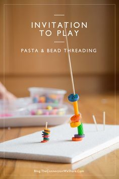 This simple invitation to play uses pasta and beads for kids to put on sticks. This pasta crafts for kids takes 10 minutes to set up. Fine Motor Activities For Kids, Sensory Activities, Infant Activities, Kids Learning, Therapy Activities, Pasta Crafts, Montessori, Beading For Kids, Toddler Fun