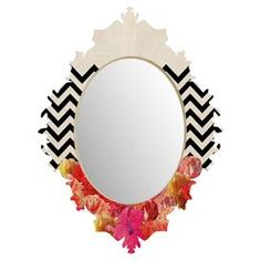 Chevron Flora 2 Wall Mirror