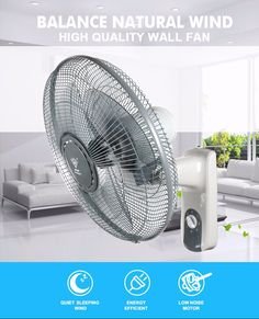 Wholesale custom gray quiet wall fan with long service life