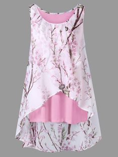 9c053b80fb7 Plus Size Overlap Tiny Floral Sleeveless Top Blouse Styles