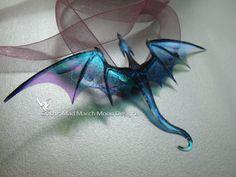 Dragon Necklace Handmade Blue Purple iridescent by MadMarchMoon