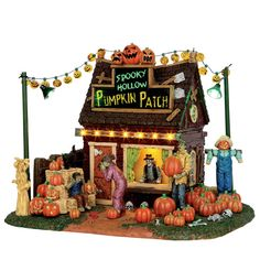 Lemax 54902 Spooky Hollow's Pumpkin Patch Lemax 54902 Spooky Hollow's Pumpkin Patch: This authentic Lemax Table Piece is an ideal addition to your Lemax Spookytown Village. Picking out a pumpkin? Be sure to stop by this Lemax Spook Fairy Halloween Costumes, Halloween House, Holidays Halloween, Halloween Ideas, Halloween Queen, Halloween Quilts, Halloween Village Display, Halloween Decorations, Village Miniature