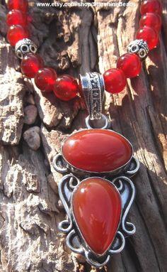 Carnelian Swarovski Crystal and Silver Necklace  by StarshineBeads