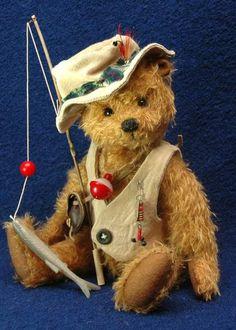 Hubert the Fisherbear Handmade by Erin Roy ~ Bears*n*Bling | Bear Pile http://www.bearpile.com/item/97661