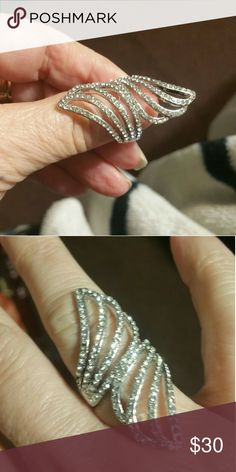 Silver and diamond accent ring Sparkling angel wing ring, beautiful on. Jewelry Rings