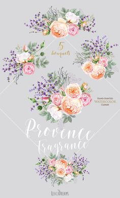 This set of 5 high quality hand painted watercolor bouquets Perfect graphic for invitations, greeting cards, wallart, posters, logo, quotes and more. Item details: 5 PNG files (300 dpi, RGB, transparent background) bouquets size (larger side) aprox.: 19 in, 5700 px - 15 in, 4500 px Individual elements: https://www.etsy.com/listing/514682547/lavender-roses-flowers-watercolor-floral?ref=shop_home_active_1 Wreaths: https://www.etsy.com/listing/...