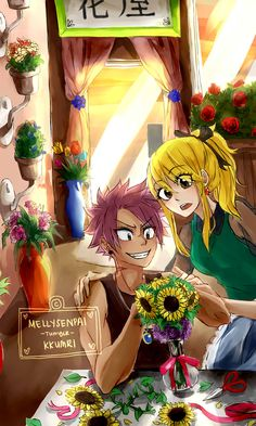 kkumri: mellysenpai: My precious darling meimei kkumri has finished my commission!! Look at those beautiful flowers that I made her draw for me. Hahaha. I'm sorry for torturing your fingers. I'll make it up to you on Tuesday okay! :DI fell in love with her Nalu designs for snogfairy's T&T fanfic and I just had to commission Ally to draw for me! LOOK AT ALL THE COLORS. *-* This is so going to be my phone wallpaper.Please DO NOT repost this. I wanted Ally to make a huge watermark right…