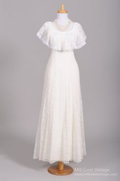 1970 Lace Shawl Vintage Wedding Gown