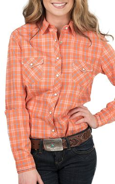 Panhandle Women's Orange and Blue Plaid Western Shirt | Cavender's
