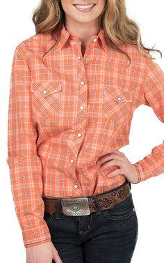 Panhandle Women's Orange and Blue Plaid Western Shirt | Cavender's
