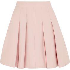 REDValentino Pleated stretch-cotton mini skirt found on Polyvore