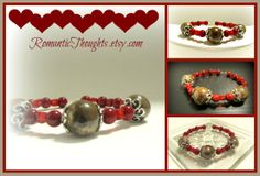 Red memory wire bracelet with Dark Red Bamboo Coral, Red Crystal Cubes and Tan Ceramic beads.