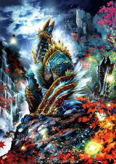 capcom claws cliff cloud electricity full_moon fur glowing highres horns jinouga landscape leaf lightning maple_leaf monster monster_hunter monster_hunter_portable_3rd moon mountain nature night no_humans open_mouth ryuuta_(ipse) scenery sky tail water waterfall