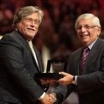 Oct 30, 2012; Miami, FL, USA; Miami Heat owner Micky Arison (left) receives his NBA championship ring from NBA commissioner David Stern (right) before a game against the Boston Celtics at American Airlines Arena. The Heat won 120-107. Mandatory Credit: Steve Mitchell-US PRESSWIRE
