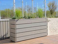 Pflanzkasten / Pflanzkübel Holz, Transparent Grau