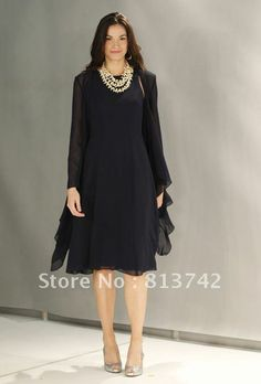 Mother of the Bride Dresses With Jacket Scoop A-line Full Sleeve Knee-length Chiffon $92.00